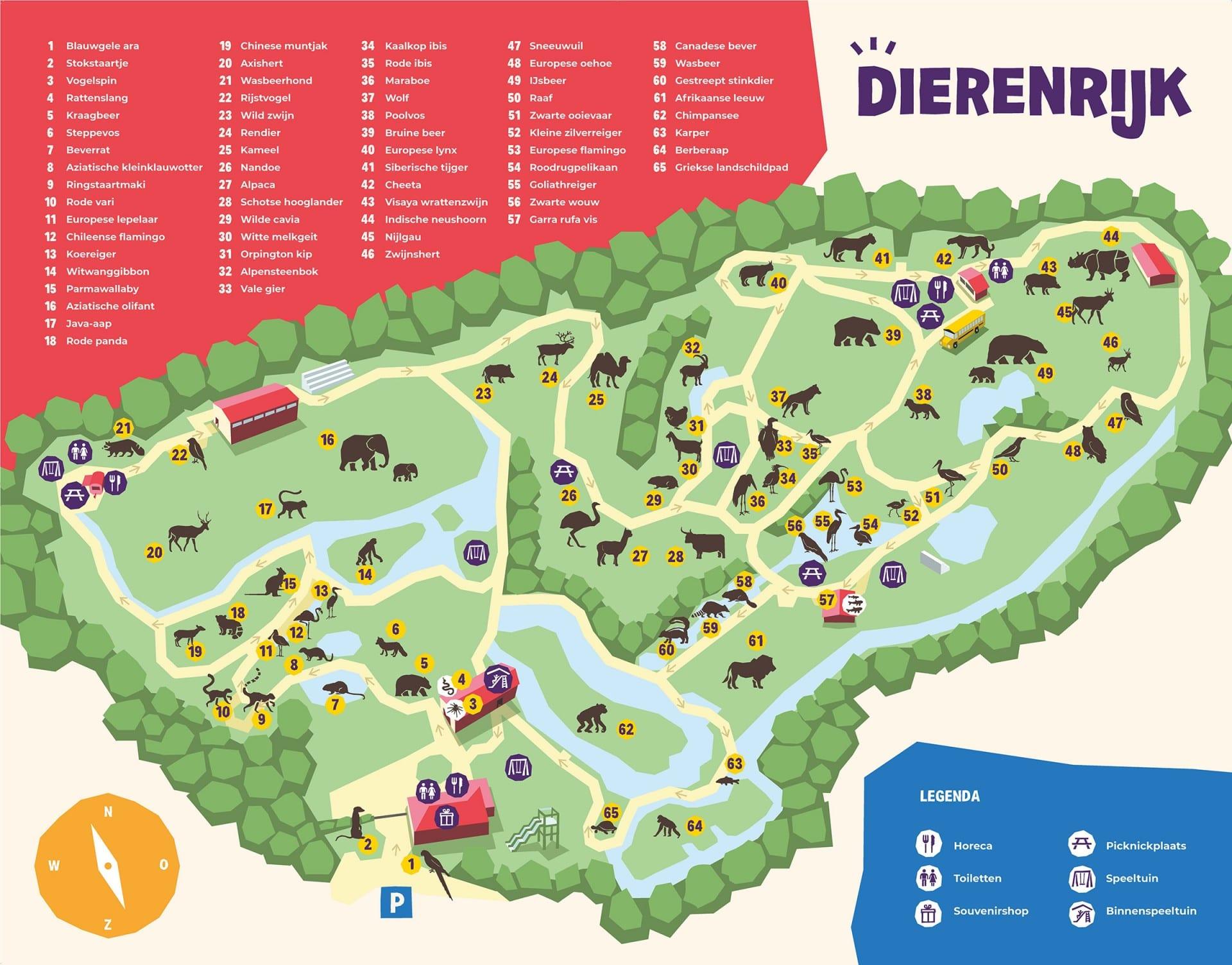 De plattegrond van Dierenrijk laat je precies zien welk dier waar te vinden is!